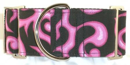 Fire and Flames Pink dog collar