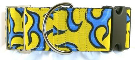 Fire and Flames Yellow dog collar
