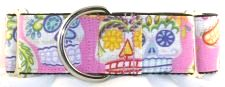 Calaveras Day of the Dead Pink martingale dog collar