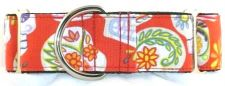 Calaveras Day of the Dead Red martingale dog collar