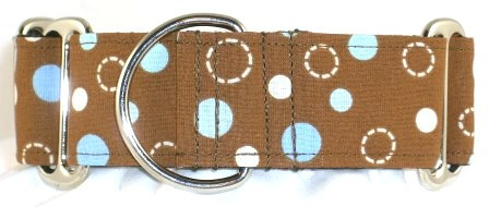 Dots Blue dog collar PRESEWN AND READY TO SHIP