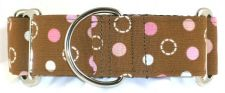 Dots Pink dog collar PRESEWN AND READY TO SHIP