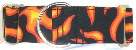 Fire and Flames Orange dog collar