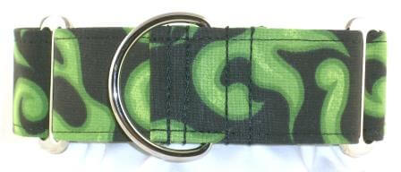 Fire and Flames Green dog collar