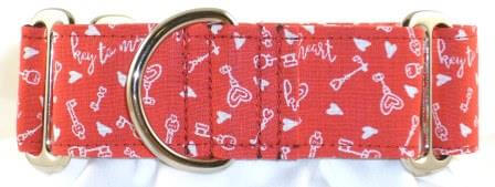 Hearts on Lock dog collar PRESEWN AND READY TO SHIP
