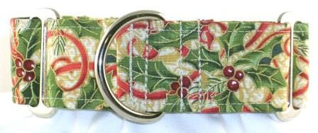 Holly and Ribbons dog collar