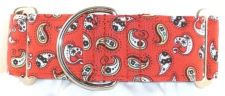 Mini Paisley Red dog collar PRESEWN AND READY TO SHIP