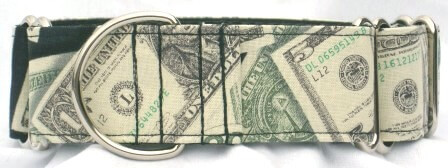 Money Bills dog collar