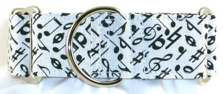 Music Notes White dog collar