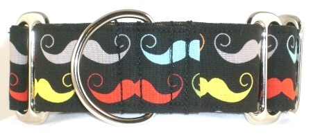 Mustache Black dog collar