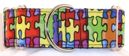 Puzzle Pieces dog collar