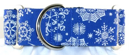 Snowflake Foil Blue dog collar