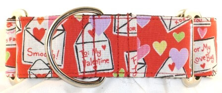 Valentine Cards dog collar PRESEWN AND READY TO SHIP